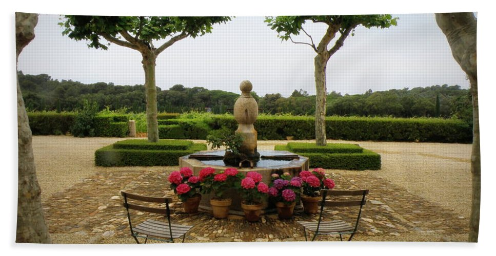 France Beach Towel featuring the photograph Chateau Malherbe Fountain by Lainie Wrightson