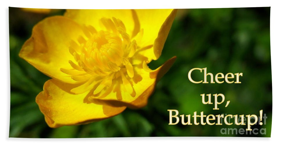 Cheer Up Buttercup Beach Towel featuring the photograph Cheer Up Buttercup by Patti Whitten
