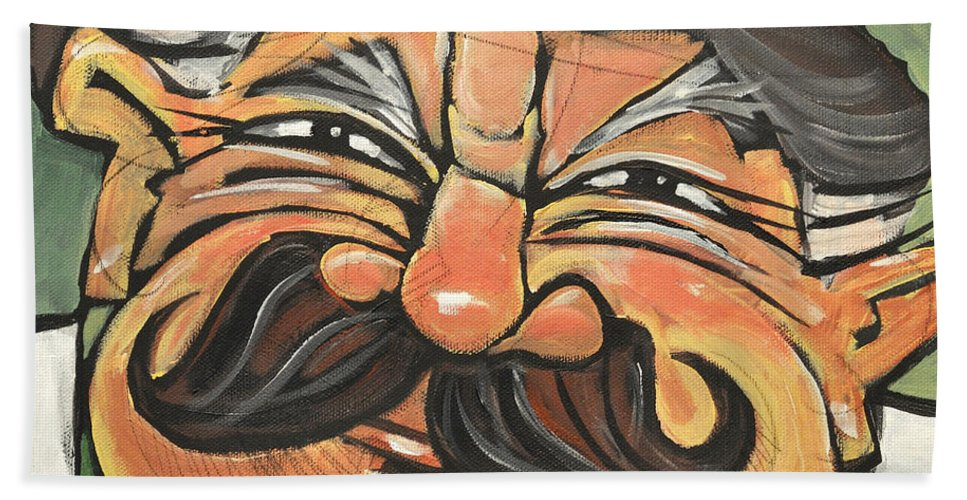 Chef Beach Towel featuring the painting Chef Guido by Tim Nyberg