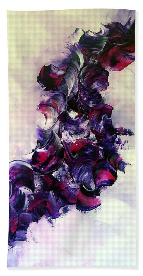 Abstract Beach Towel featuring the painting Cherry Rock'n Roll by Isabelle Vobmann