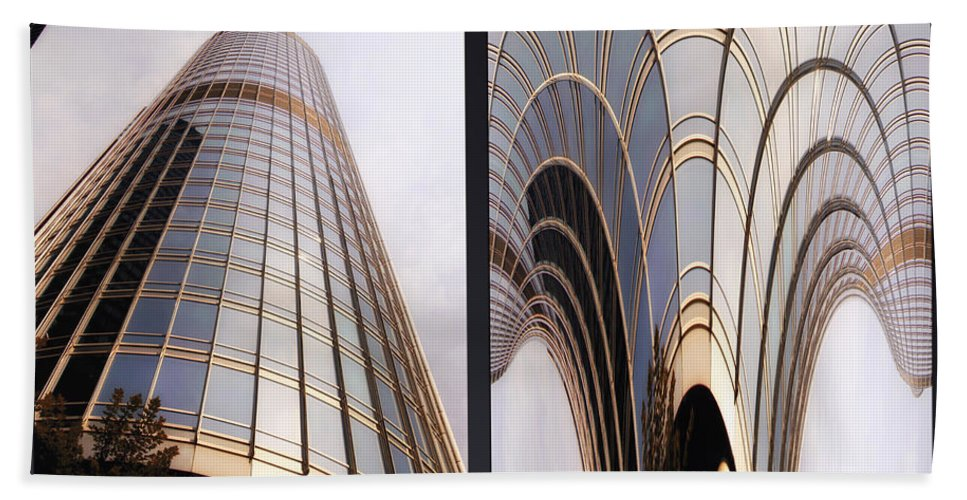 Chicago Beach Towel featuring the photograph Chicago Abstract Before And After Sunrays On Trump Tower 2 Panel by Thomas Woolworth