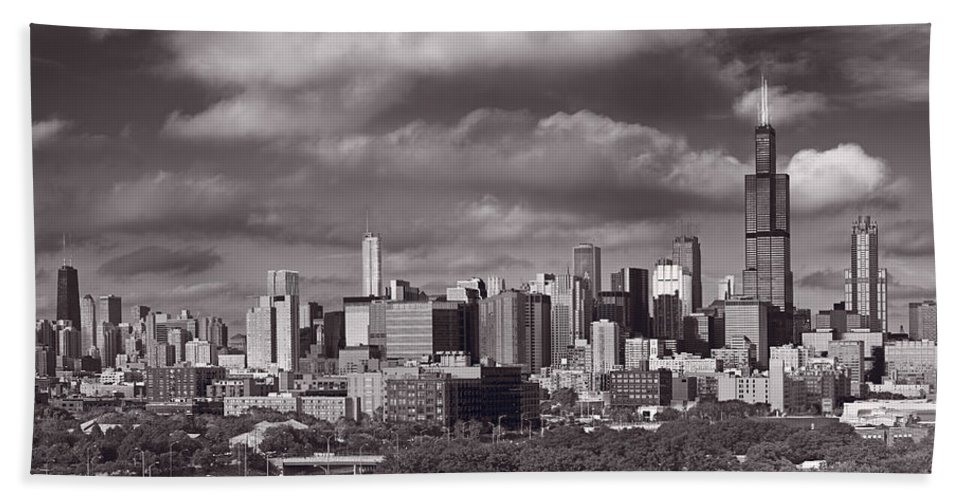Black Beach Towel featuring the photograph Chicago Afternoon by Steve Gadomski
