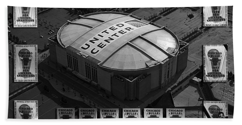 Chicago Bulls Beach Towel featuring the photograph Chicago Bulls Banners In Black And White by Thomas Woolworth