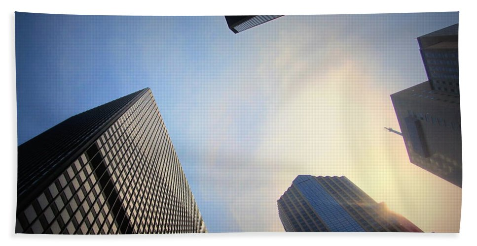 Chicago Beach Towel featuring the photograph Chicago Looking Up 3 by Anita Burgermeister