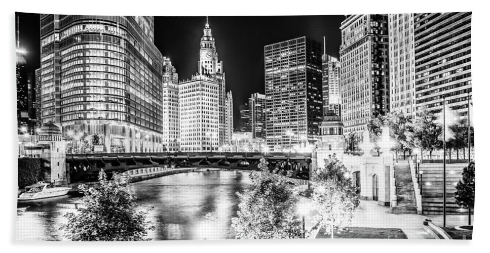 America Beach Towel featuring the photograph Chicago River Buildings at Night in Black and White by Paul Velgos
