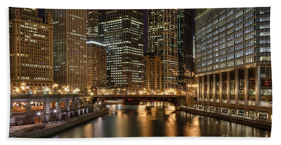 Chicago Beach Towel featuring the photograph Chicago River by Scott Wood