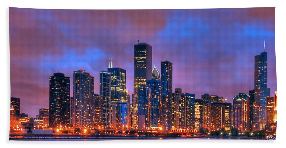 Chicago Skyline From Navy Pier Beach Towel featuring the photograph Chicago Skyline From Navy Pier View 2 by Ken Smith