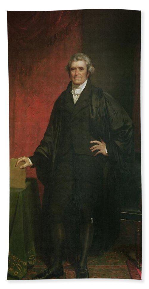 Portrait Beach Towel featuring the painting Chief Justice Marshall by Chester Harding