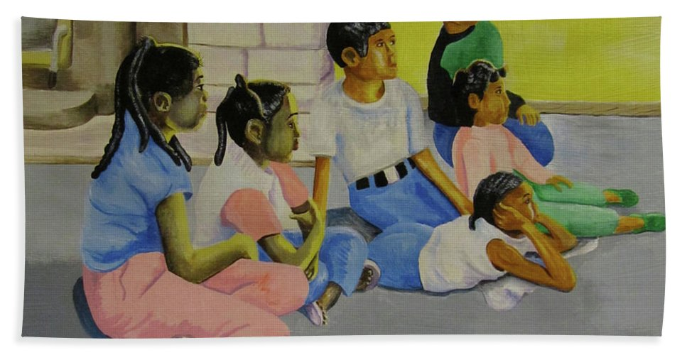 Children Beach Towel featuring the painting Children's Attention Span by Thomas J Herring