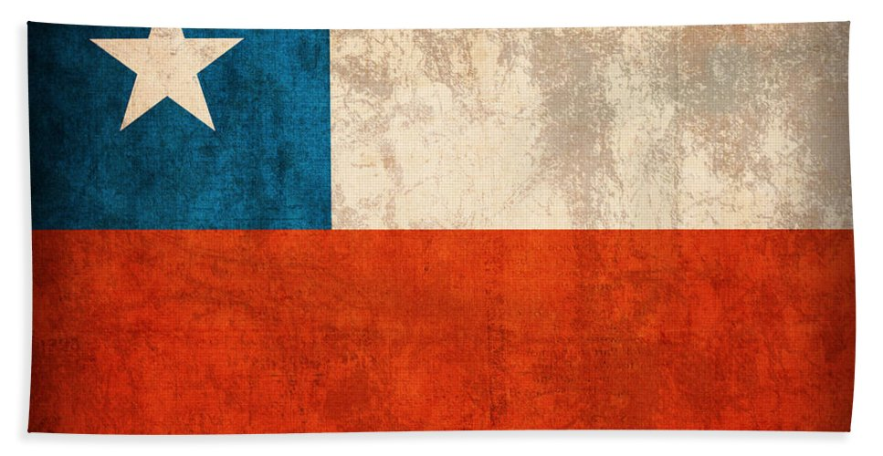 Chile Flag Vintage Distressed Finish Beach Towel featuring the mixed media Chile Flag Vintage Distressed Finish by Design Turnpike