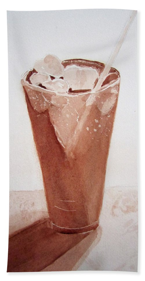Cold Drink With Ice In Glass Beach Towel featuring the painting Chilling Out by Elvira Ingram