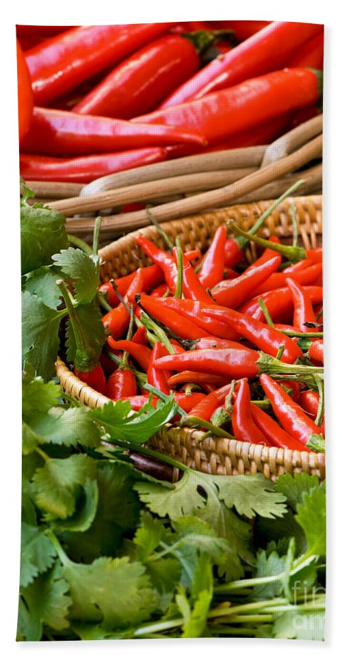 Basket Beach Towel featuring the photograph Chillies 04 by Rick Piper Photography