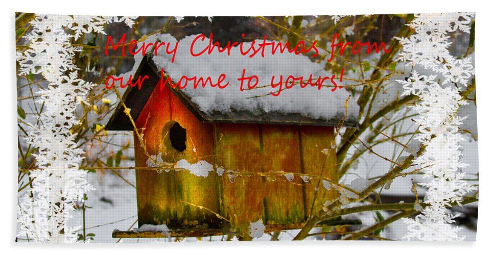 Appalachia Beach Towel featuring the photograph Chilly Birdhouse Holiday Card by Debra and Dave Vanderlaan