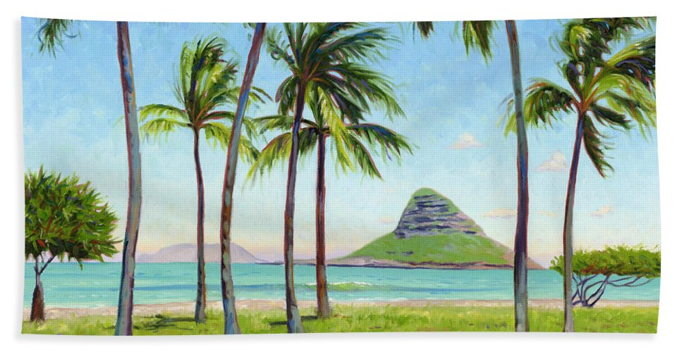 Chinamans Hat Beach Towel featuring the painting Chinamans Hat - Oahu by Steve Simon