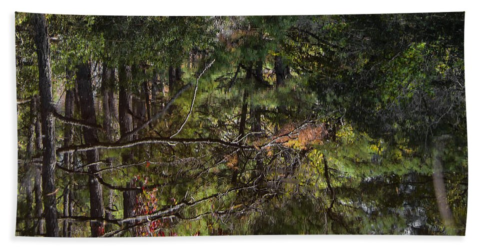 Water Beach Towel featuring the photograph Chincoteague Reflection by Erika Fawcett