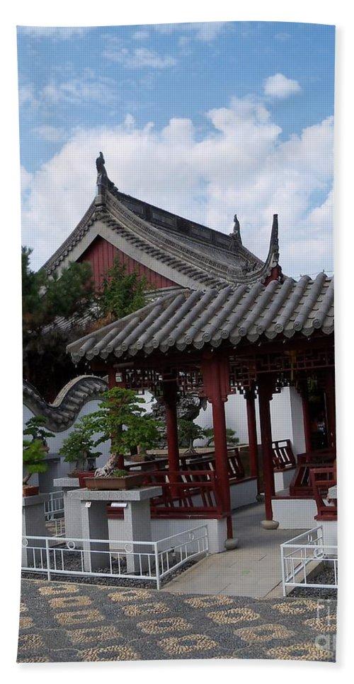 Garden Landscape Beach Towel featuring the photograph Chinese Bonsai Garden by Lingfai Leung