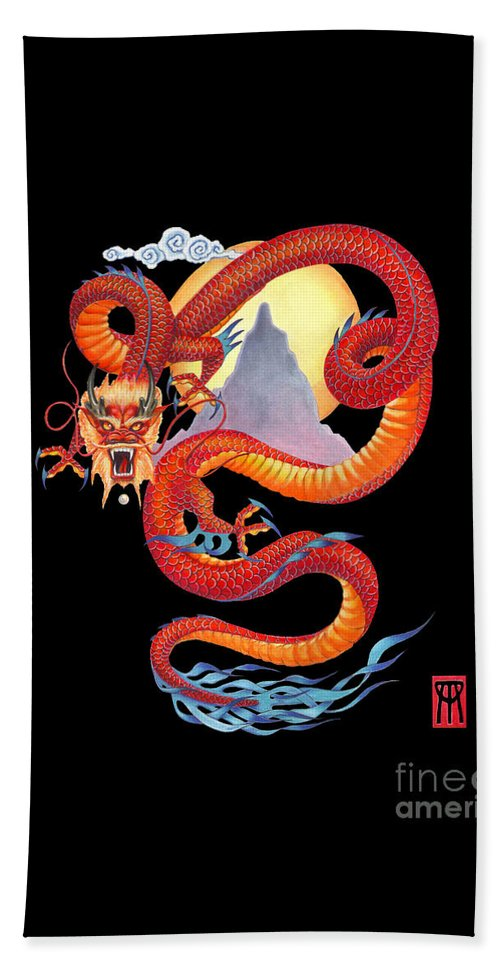 Dragon Beach Towel featuring the painting Chinese Dragon on Black by Melissa A Benson