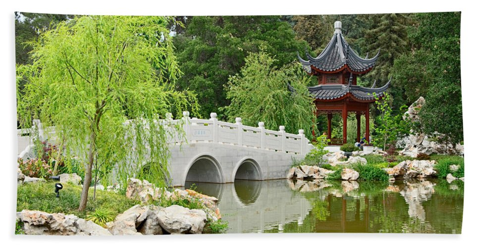 Chinese Garden Beach Towel Featuring The Photograph Chinese Garden With  Stone Bridge And Pagoda By Jamie