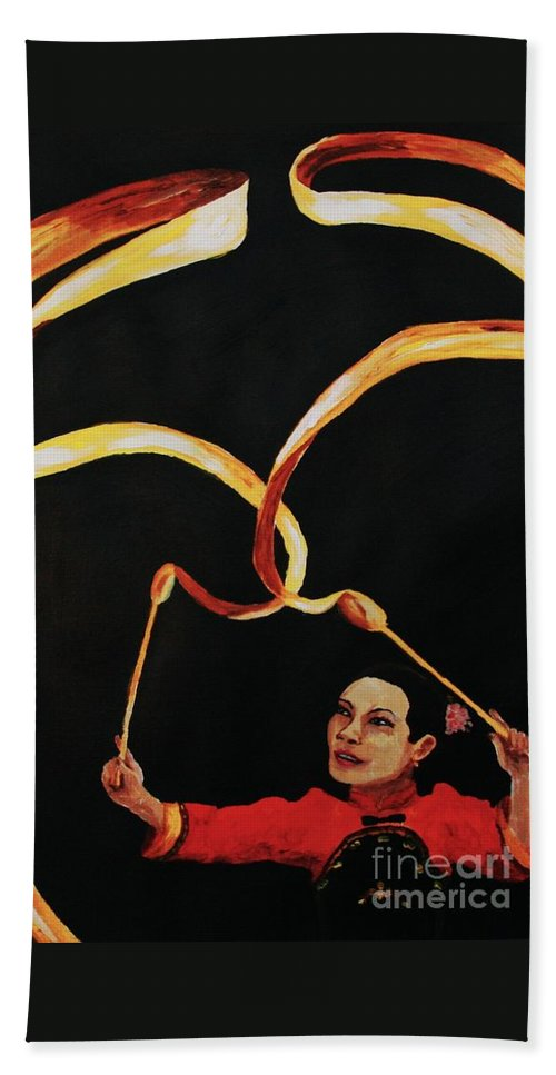 Chinese Beach Towel featuring the painting Chinese Ribbon Dancer Yellow Ribbon by Cris Motta