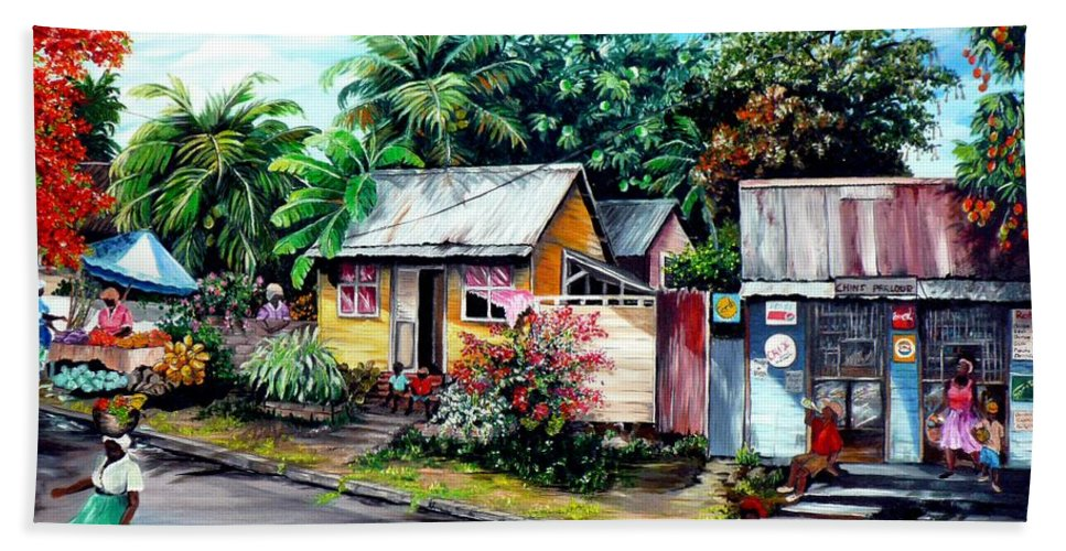 Landscape Painting Caribbean Painting Shop Trinidad Tobago Poinciana Painting Market Caribbean Market Painting Tropical Painting Beach Towel featuring the painting Chins Parlour   by Karin Dawn Kelshall- Best