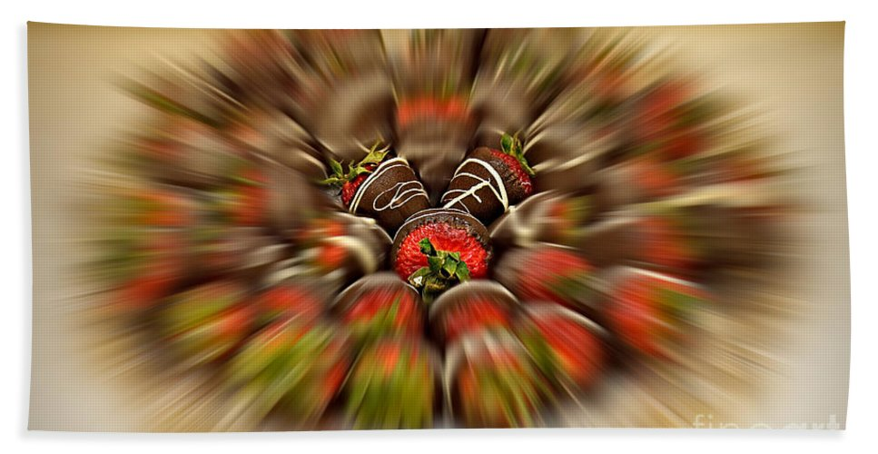 Strawberry Beach Towel featuring the photograph Chocolate Strawberry Rush by Susan Candelario