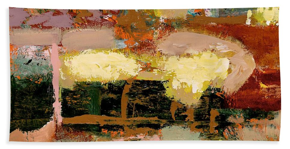 Landscape Beach Sheet featuring the painting Chopped Liver by Allan P Friedlander