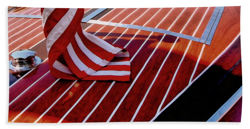 Classic Boat Beach Towel featuring the photograph Chris Craft With American Flag by Michelle Calkins