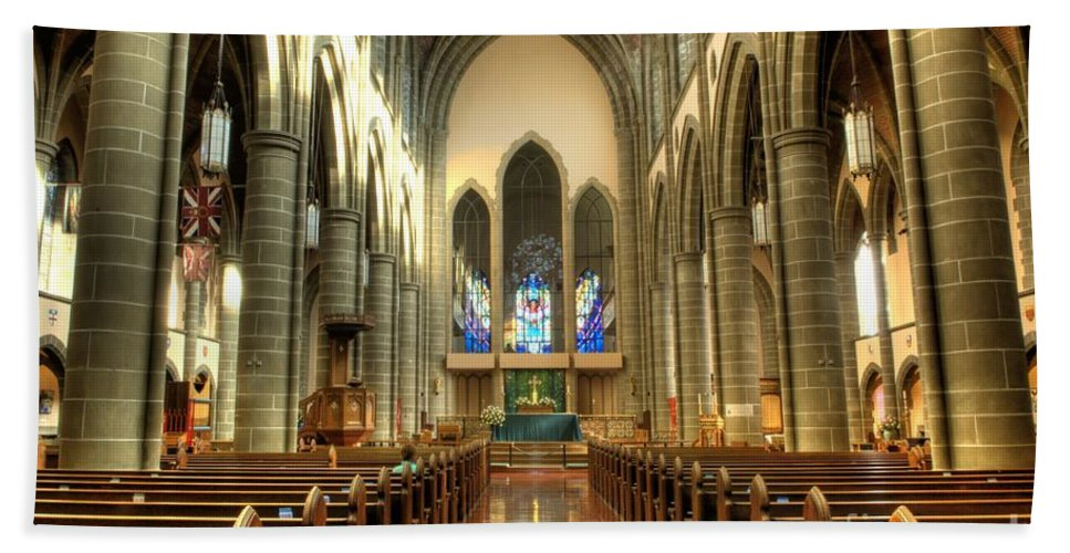 Cathedral Beach Towel featuring the photograph Christ Church Cathedral Victoria British Columbia by Bob Christopher