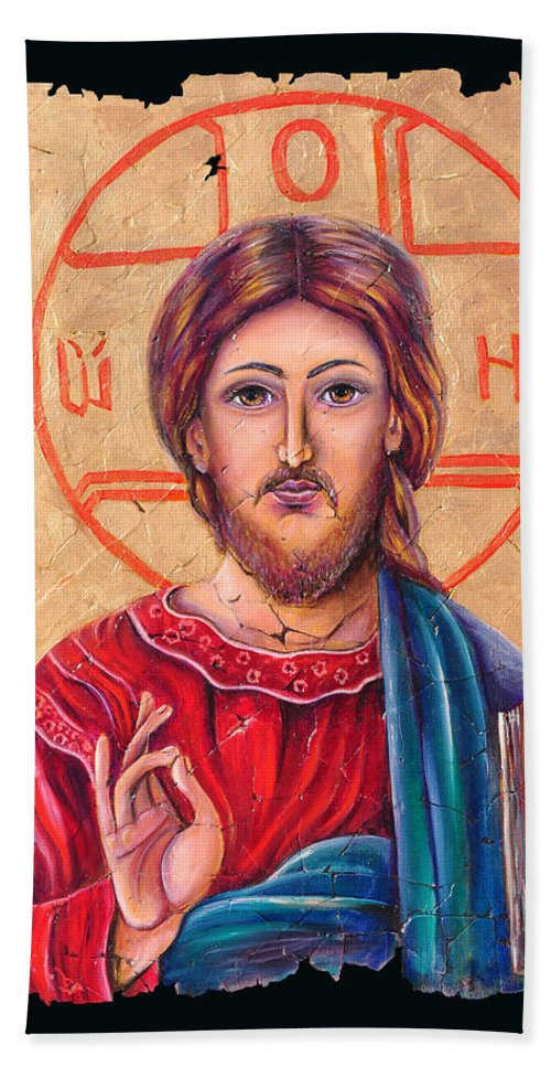 Christ Jesus Beach Towel featuring the painting Christ Icon Fresco by Lena Owens OLena Art