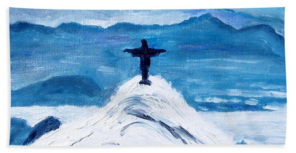 Christ Statue In Rio In Blue Beach Towel featuring the painting Christ Statue In Rio In Blue by Kevin Croitz