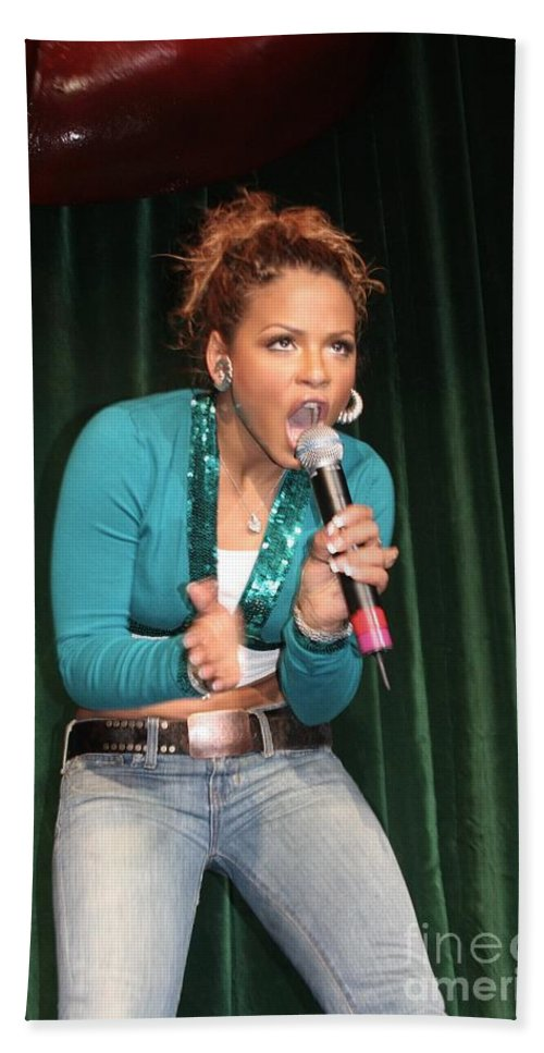 Posters Beach Towel featuring the photograph Singer Christina Milian by Concert Photos