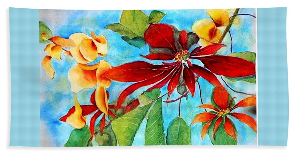 Watercolor Beach Towel featuring the painting Christmas All Year Long by Debbie Lewis