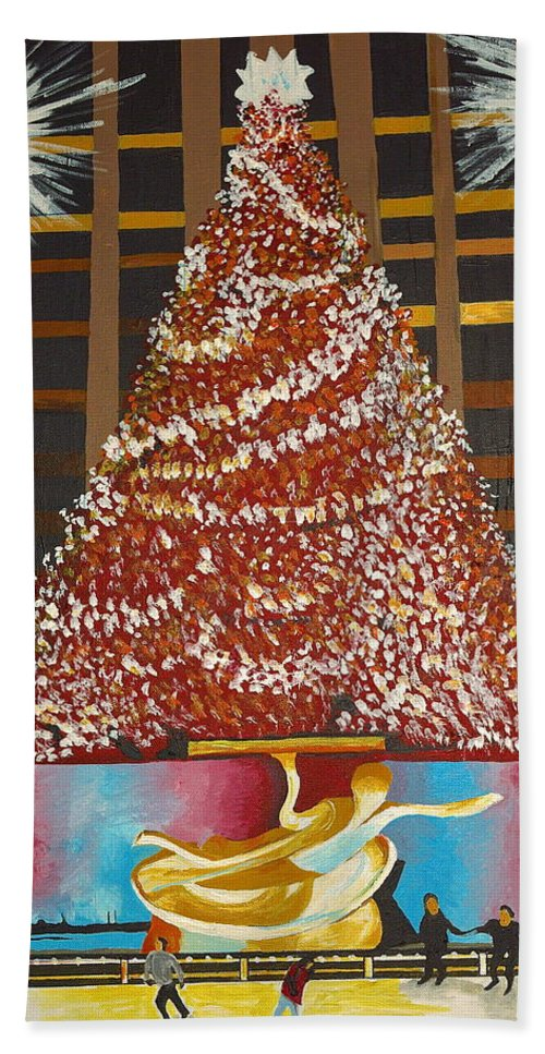 New York Beach Towel featuring the painting Christmas In The City by Donna Blossom