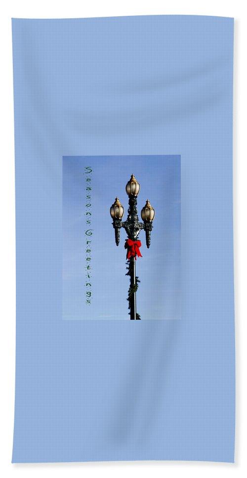 Christmas Beach Towel featuring the photograph Christmas Lamp Post Grn 2013 by Deb Buchanan