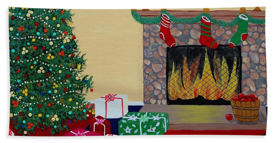 Barbara Griffin Beach Towel featuring the painting Christmas Memories by Barbara Griffin