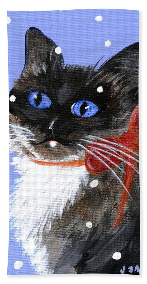 Christmas Beach Towel featuring the painting Christmas Siamese by Jamie Frier