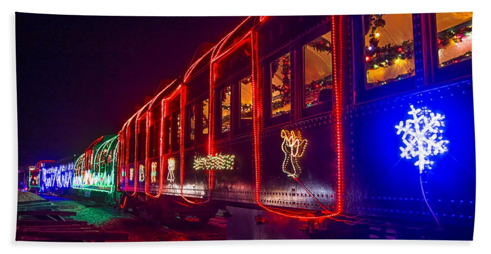 Christmas Train Beach Towel featuring the photograph Christmas Train by Garry Gay