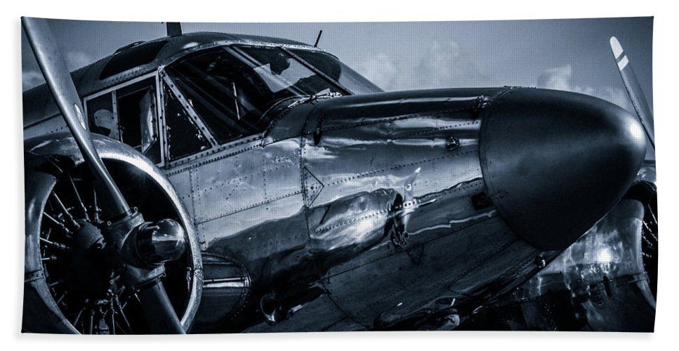 Chrome Beach Towel featuring the photograph Chrome Twin-engined Beauty by Gareth Burge Photography