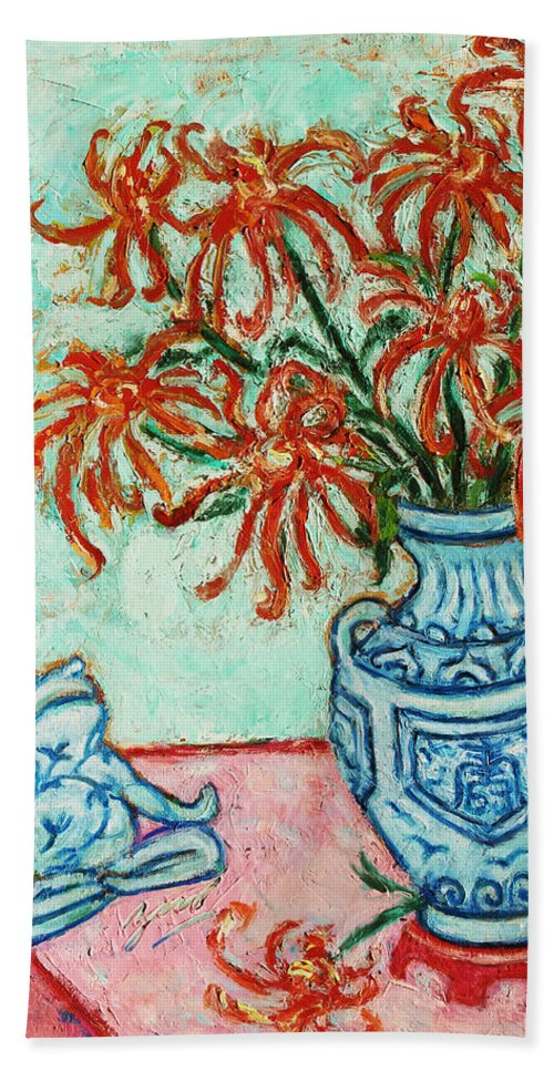 Chrysanthemum Beach Towel featuring the painting Chrysanthemum And Frog by Xueling Zou