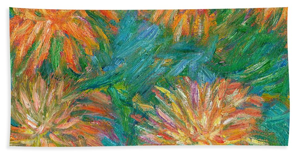 Floral Beach Towel featuring the painting Chrysanthemum Shift by Kendall Kessler