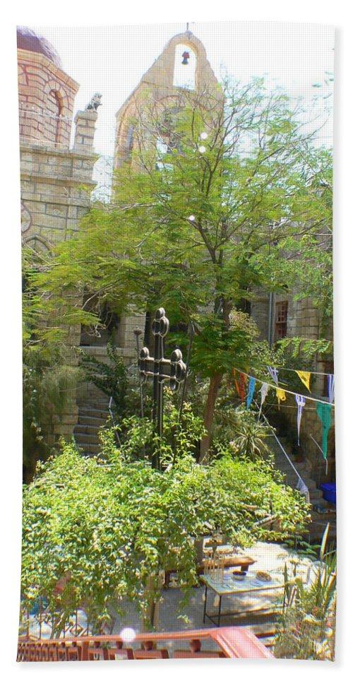 Jerusalem Beach Towel featuring the photograph Church Courtyard by Katerina Naumenko