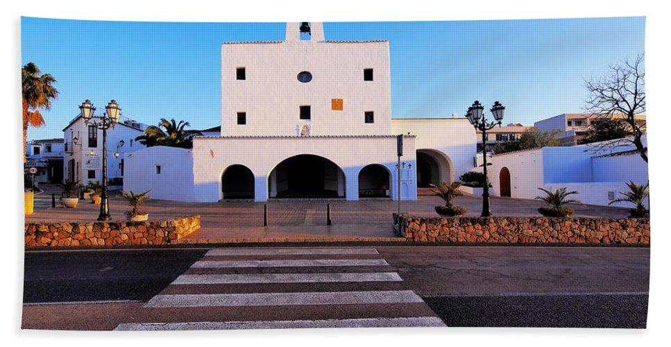 View Beach Towel featuring the photograph Church In Sant Josep Town On Ibiza Island by Karol Kozlowski