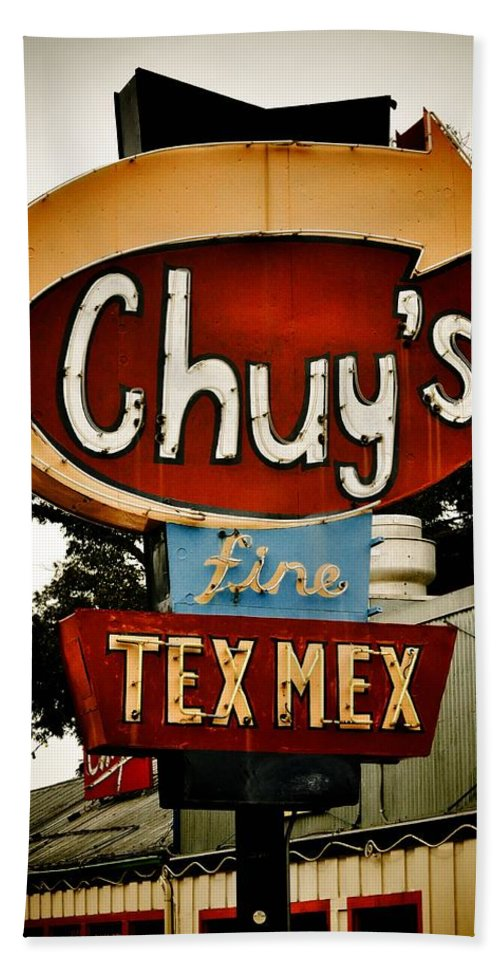 Chuy's Beach Towel featuring the photograph Chuy's Sign 2 by Kristina Deane