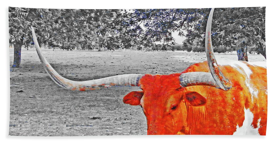 Longhorn Beach Towel featuring the digital art Cibolo Longhorn by Lizi Beard-Ward