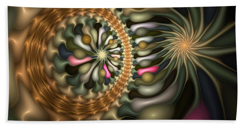 Abstract Beach Towel featuring the digital art Cicular Logic Overwhelmed by Casey Kotas