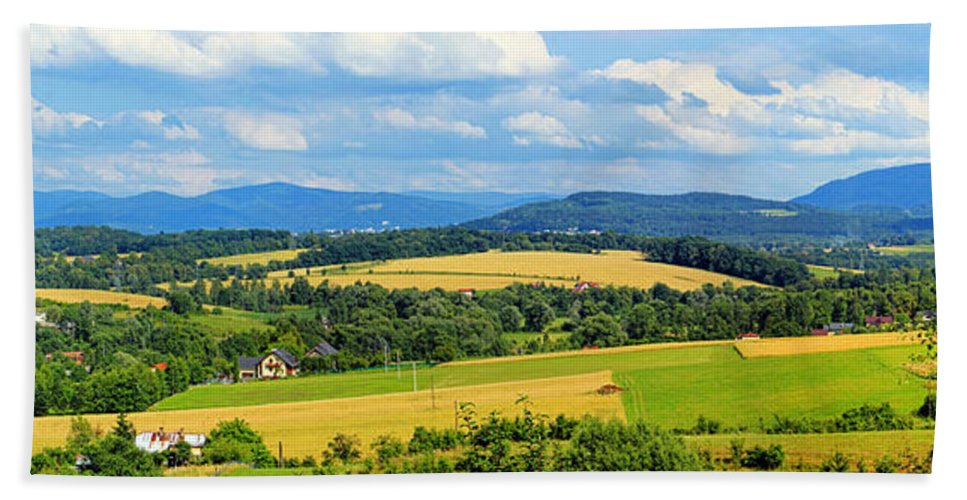 Beskidy Mountains Beach Towel featuring the photograph Cieszyn Beskidy Panorama by Mariola Bitner