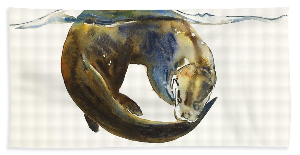 Otter; Otters; Animal; Animals; Water; Aqua; Lutra; Watercolour; Movement; Colour; Predator; Swim;swimming;intensity;action; Color; Watercolor; Water Color; Watercolor Painting; Paper; Blend; Blending; Blue; Brown; White; Hunt; Hunting; Hunter; Mark; Mark Adlington; Adlington Beach Towel featuring the painting Circle Of Life by Mark Adlington