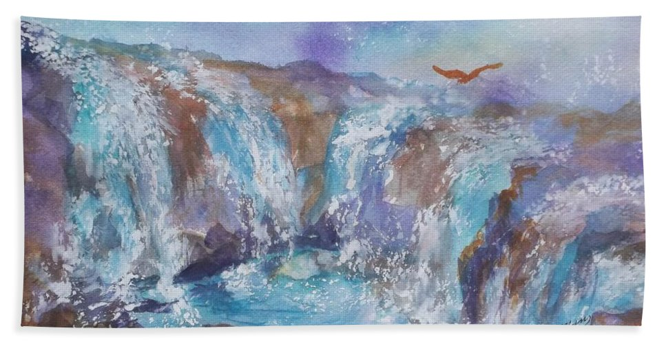 Waterfall Beach Towel featuring the painting Circle Of Power by Ellen Levinson