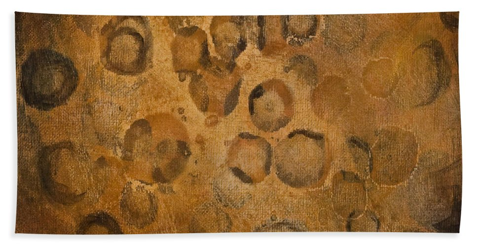 Abstract Beach Towel featuring the painting Circles Of Gold by Darice Machel McGuire
