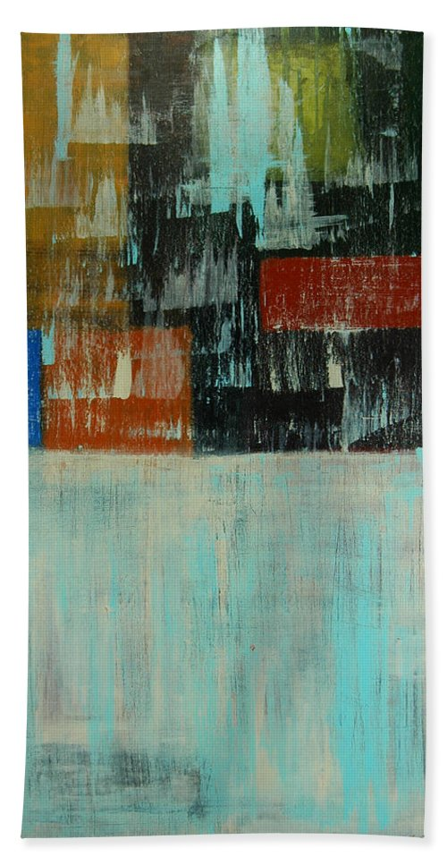 Abstract Beach Towel featuring the painting City Blocks by Sue McElligott